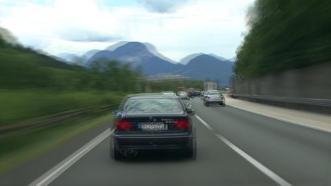 TL highspeed austrian highway drive mountain Stock Video Footage
