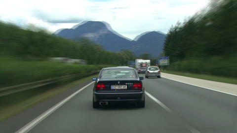 TL highspeed austrian highway drive mountain Footage