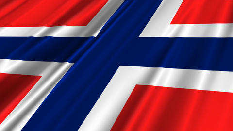 NorwayFlagLoop02 Stock Video Footage