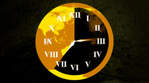 World Clock Face HD Animation