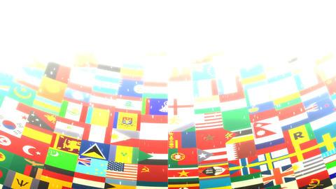 World Flags HD Loop Stock Video Footage
