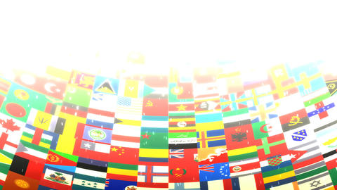 World Flags HD Loop Stock Video Footage