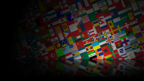 World Flags Reflected HD Loop Stock Video Footage
