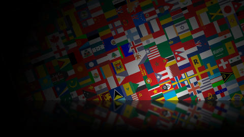 World Flags Reflected HD Loop Animation
