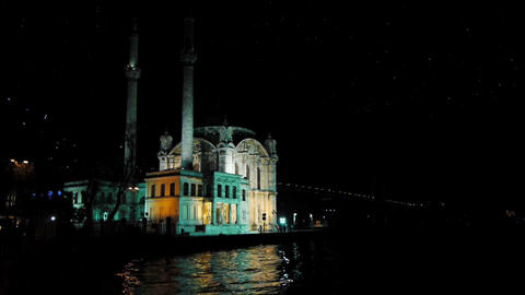 Turkey, Istanbul, Mosque at night Footage