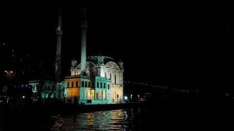 Turkey, Istanbul, Mosque at night Stock Video Footage