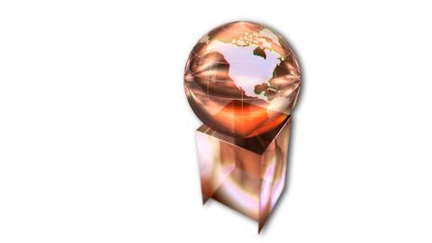 Rotating globe award on white background, animation Stock Video Footage
