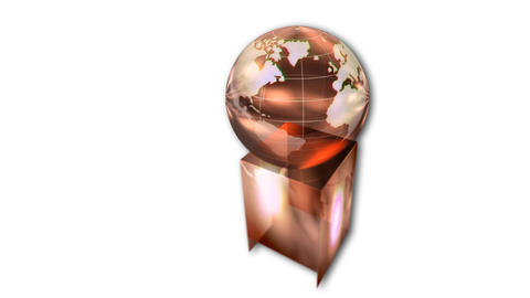 Rotating globe award on white background, animation Animation
