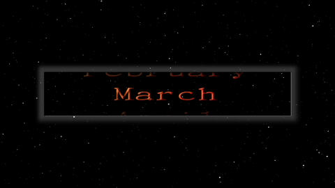 Monthly calendar floating in space Stock Video Footage