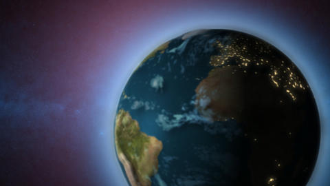 Rotating Earth with sun in background Stock Video Footage