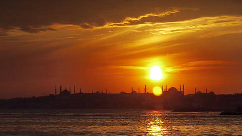 Turkey, Istanbul, Hagia Sophia City Mosque near coast at sunset - Travel Destinations Footage
