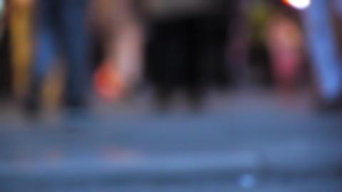Defocused pedestrians feet walking in city - Crowded... Stock Video Footage