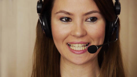 Young female call centre agent Footage