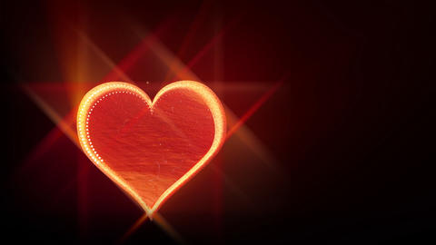 Red love heart on black background - Emotion - Vallentines Animation
