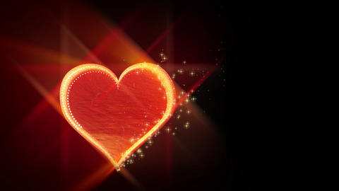 Red love heart on black background - Emotion - Vallentines Stock Video Footage