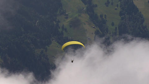 paraglider zoom out mountain Footage