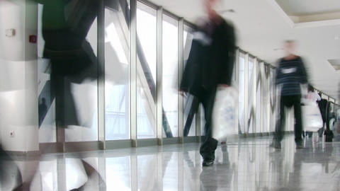 business people in corridor 2 Stock Video Footage