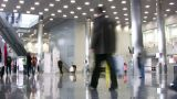 People In Business Hall stock footage