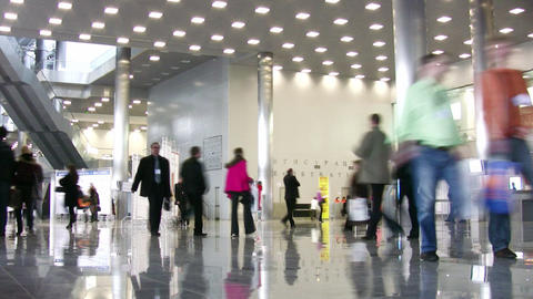 people in business hall Stock Video Footage