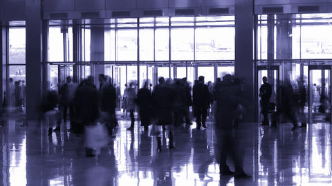 silhouette people in enter hall Stock Video Footage