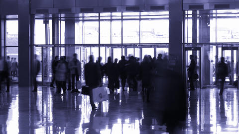 silhouette people in enter hall Footage
