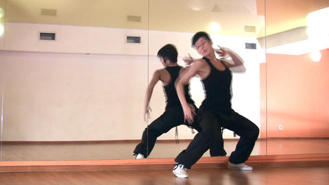 dance girl and mirror Stock Video Footage