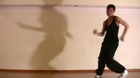 dancing girl and shadow Stock Video Footage