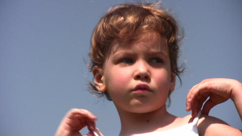 face little girl on sky Stock Video Footage