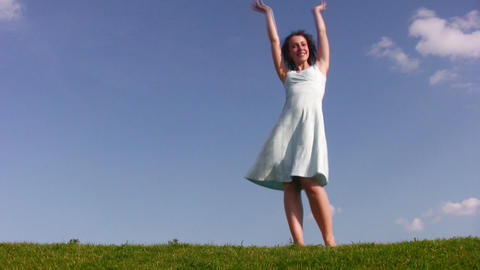 dancing girl on meadow Footage
