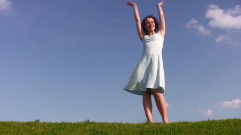 dancing girl on meadow Footage