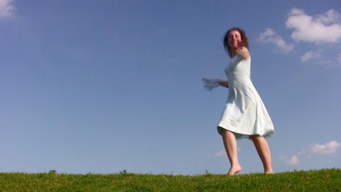 dancing girl on meadow Stock Video Footage