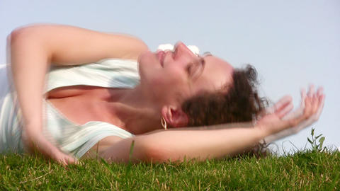 relax girl on meadow Stock Video Footage