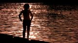 Silhouette Woman On Water Alone stock footage