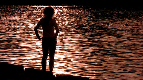 silhouette woman on water alone Footage