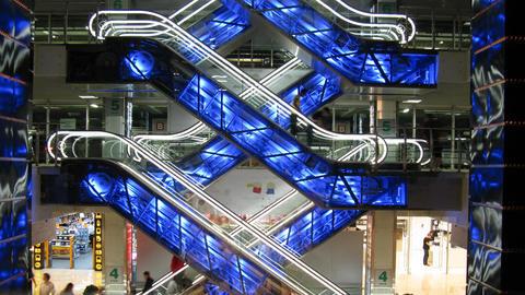 escalators in shop Stock Video Footage