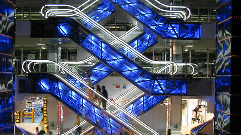 escalators in shop Stock Video Footage
