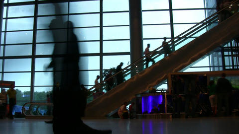 airport people silhouette escalator Stock Video Footage