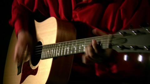 play on guitar in dark Stock Video Footage
