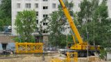Crane Construction By Cranmobile Time Lapse stock footage