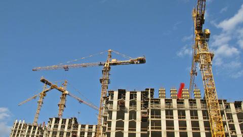 Crane construction time lapse Stock Video Footage