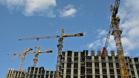 Crane construction time lapse Stock Video Footage