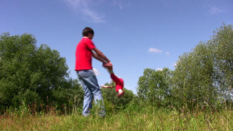 Father rotate daughter 2 Stock Video Footage