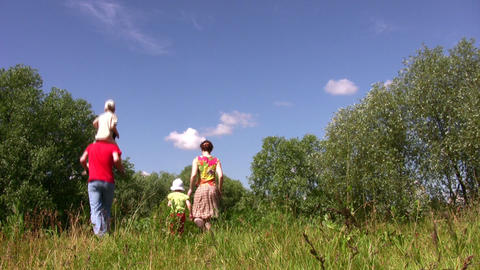 Walking backs family of four Stock Video Footage