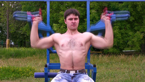 Bodybuilder outdoor Stock Video Footage