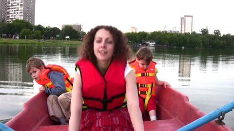 mother with children on boat 4 Footage