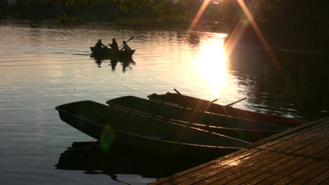 Sunset boats silhouette Stock Video Footage