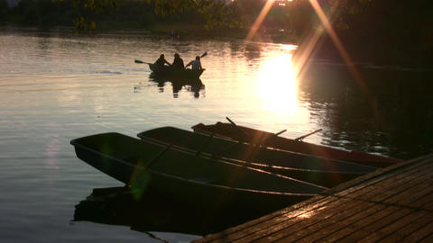 Sunset Boats Silhouette stock footage
