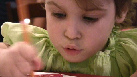 Child drawing 2 Stock Video Footage