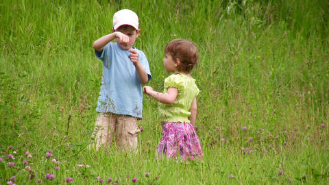 Children explore bug Stock Video Footage