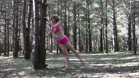 fitness girl in park Stock Video Footage